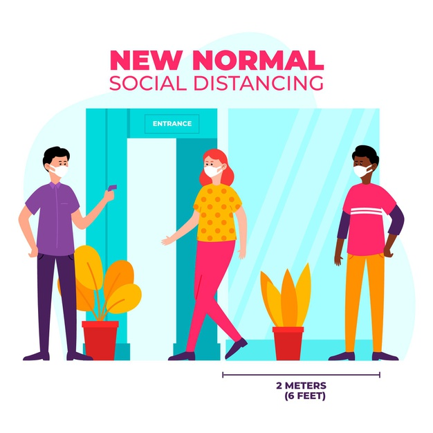 Care for your teeth : image showing social distancing and the new normal in 2020