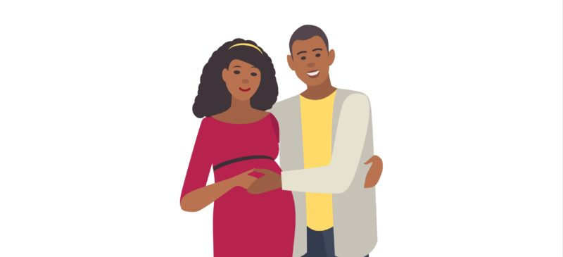 ANTENATAL DENTAL VISITS : An illustration of a smiling couple, man embracing his pregnant wife.