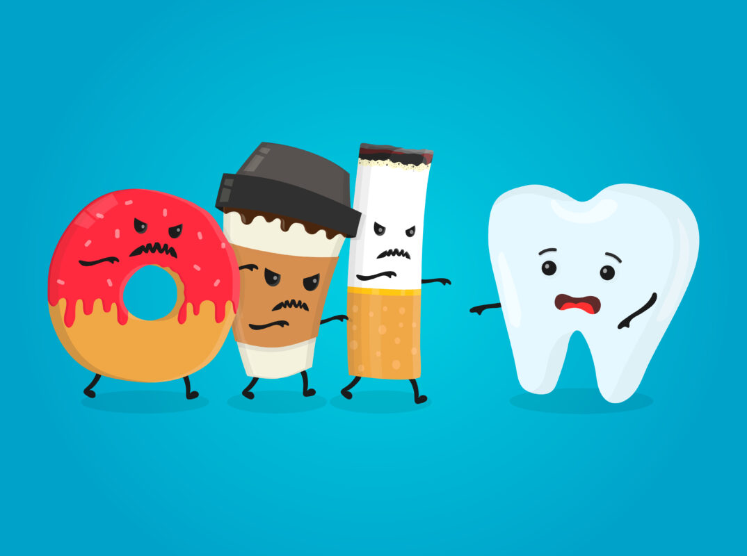 Preventive dental care : Image showing healthy tooth, angry donut, coffee paper cup and cigarette