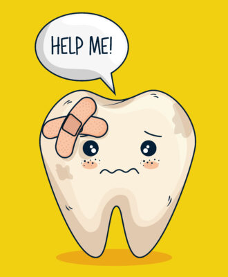 Why do I have yellow teeth - Image showing a sad discoloured tooth with a plaster on it