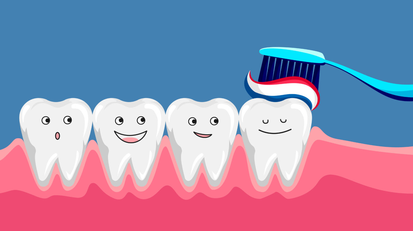 THE GOODNESS OF FLUORIDE : An illustration of happy smiling teeth with toothbrush and toothpaste on them